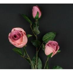 Цветок искусственный Роза чайная ветка х3 90см микс L705