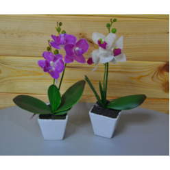 Цветок искусственный Орхидея в горшке прорезиненная 24см микс CV07577-MIX