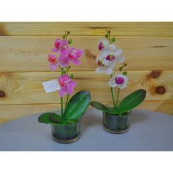 Цветок искусственный Орхидея мини в стеклянном стаканчике  30см микс CV07581