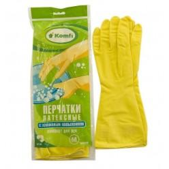 Перчатки хозяйственные латексные с х/б напылением  тм Komfi желтые, размер L