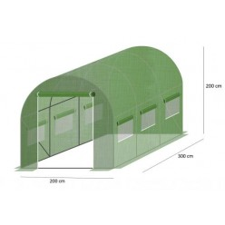 Теплица 3х2х2м зеленая с армированной пленкой с УФ защитой