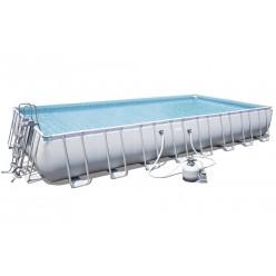 Бассейн каркасный 9,56 м х 4,88 м х 1,32 м (бассейн, помпа, опоры, покрытие, дно) Bestway 56623