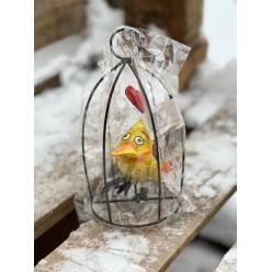 Птичка в клетке 19 см подвесная микс SUS5515