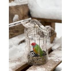 Птичка в клетке 22 см подвесная микс SUS5522