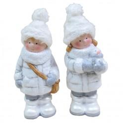 Фигурка керамическая рождественская мальчик/девочка 13,5 см GOT9049