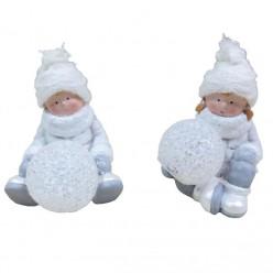 Фигурка керамическая мальчик/девочка 13,5см со светящимся шаром 11,5см GOT9070