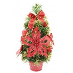 Ель искусственная украшенная 30 см красный декор ANT1370