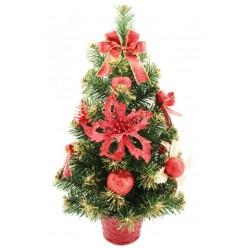 Ель искусственная украшенная 50 см красный декор ANT1394