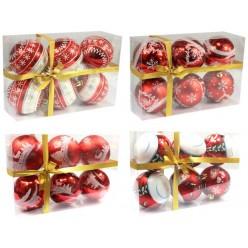 Шары елочные набор (6шт) 7см. пласт.красные BAI2162