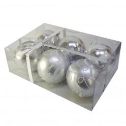 Шары ёлочные пласт. набор 6 шт/уп 8 см арт. BAI1352