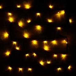 Гирлянда для улицы, 7м 80 ламп LED чёрный провод, Желтый