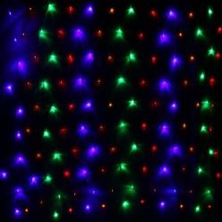 Сетка для дома 2,0*1,5м 144 лампы LED, прозр.пров, Мультицвет