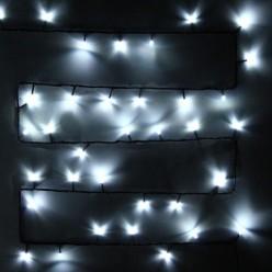 Гирлянда для улицы, 7м 80 ламп LED чёрный провод, Белый