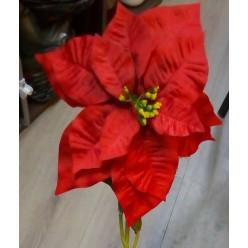 Цветок искусственный Пуансеттия рождественская 70см