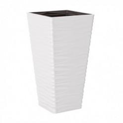 Кашпо пластмассовое Сахара Слим квадратный 40 белый 3970-011