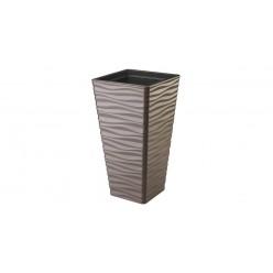 Кашпо пластмассовое Сахара Слим квадратный 40 т.коричневый 3970-068