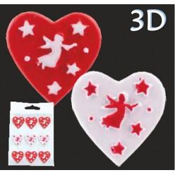 """Наклейка рождественская 3D """"Сердечко с ангелом"""" UAN5525, 9 шт/уп"""