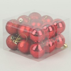 Шары ёлочные пластиковые S634, 18 шт/уп