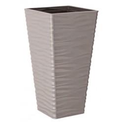 Кашпо пластмассовое Сахара Слим квадратный 40 светло-серый 3970-055