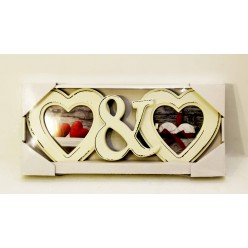 Рамка на 2 фото Сердце деревянное
