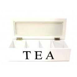 Шкатулка для чая деревянная белая